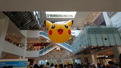横浜のみなとみらいにピカチュウが大量発生とのことで、スノーピークストアのあるみなとみらいへ!