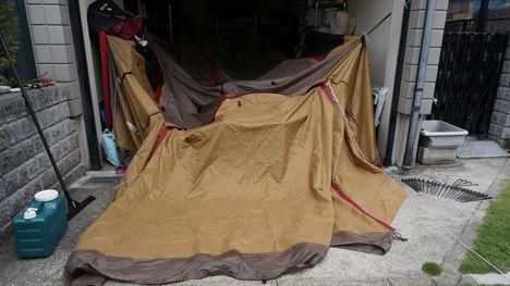 濡れたテントの乾燥