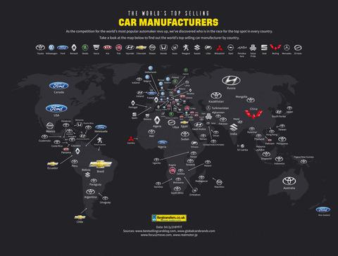 国別に「最も人気のある自動車メーカー」を世界地図にしてみた結果wwwww
