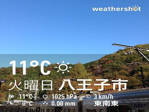 高尾山口駅での気温は11℃。高尾山に登ると少し寒いかもなぁ。