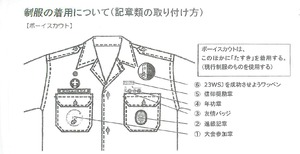 ボーイ隊の制服の記章類の取り付け方