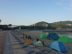 午前6時前の風景(遠くに身近島が見える)