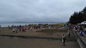 海辺にはたくさんのスカウトたちが集まっている