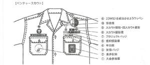 ベンチャー隊の制服の記章類の取り付け方