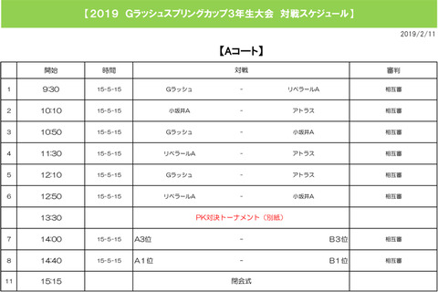 Gラッシュスプリングカップ3年生大会(2019年2月11日)