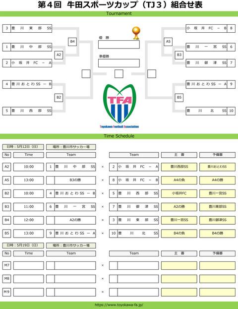 第4回牛田スポーツカップ組合せ表(TJ3)