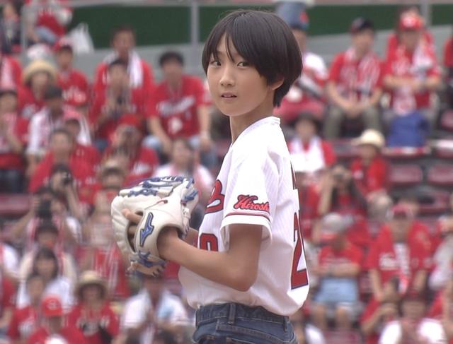 カープ永川勝浩娘始球式