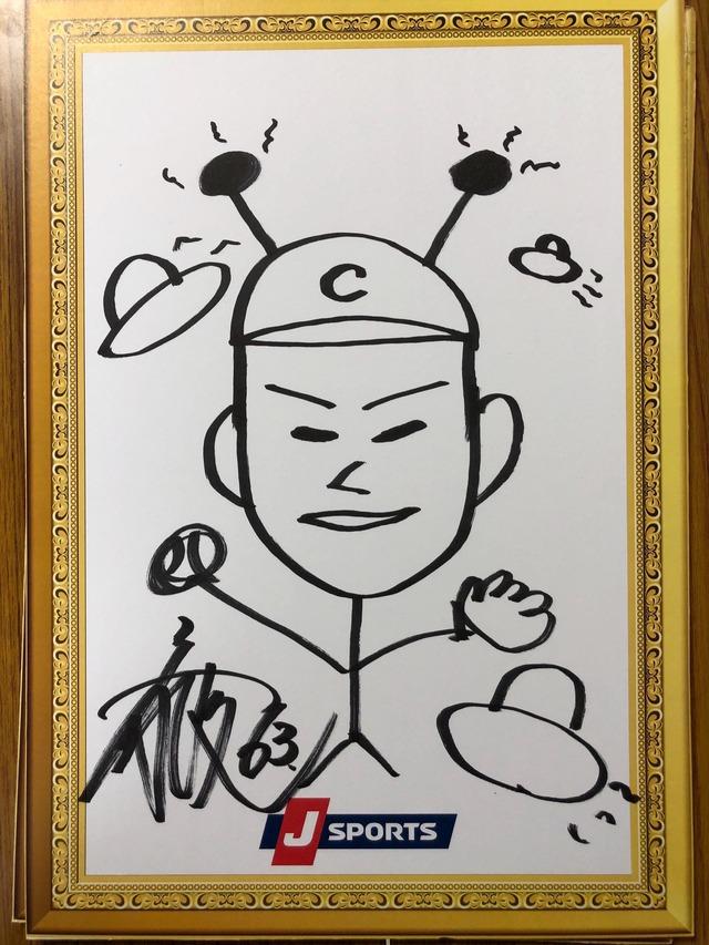 西川龍馬が描いた岡田明丈の似顔絵