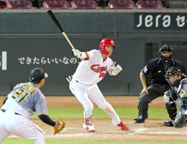 カープドラ2宇草孔基、打率.600 出塁率.750 OPS1.550 2盗塁