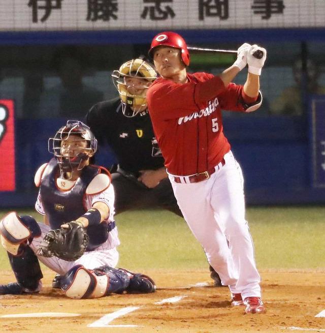 カープ長野久義フェンス直撃タイムリー2塁打