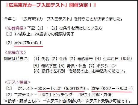 広島カープ_入団テスト