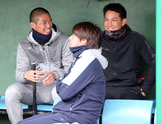 カープ中村奨成×巨人小林誠司が自主トレ