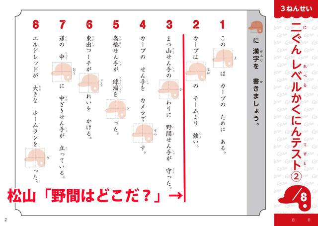 広島カープ漢字ドリル_内容