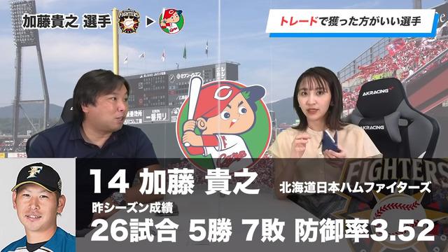 広島カープがトレードで獲得するべき選手は日ハム加藤貴之