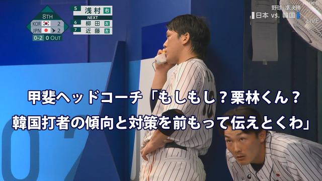 侍ジャパン甲斐栗林電話