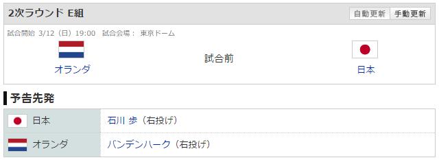 侍ジャパン_オランダ_石川歩_バンデンハーク