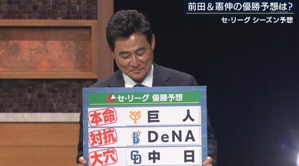 前田智徳さん、巨人1位と優勝予想をする。カープは4位。