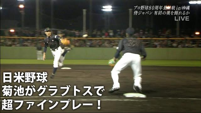 菊池涼介_グラブトス_日米野球