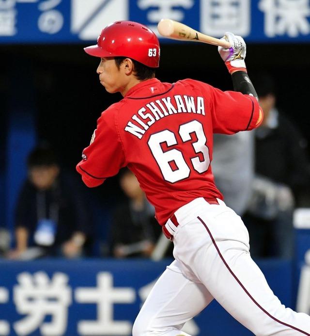 西川龍馬2点タイムリー2塁打