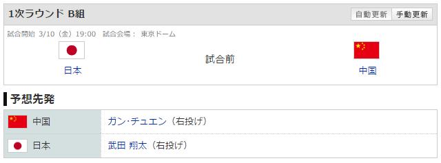 WBC_日本中国_先発