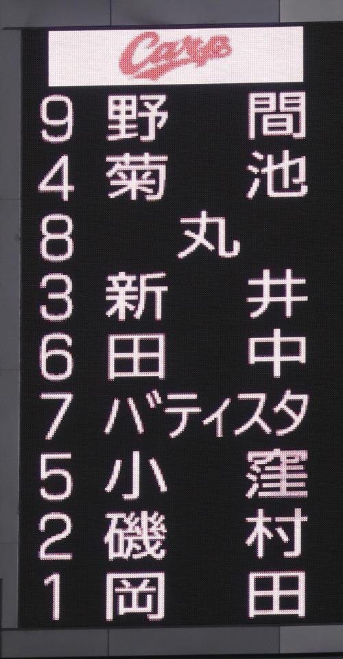 新井貴浩スタメン4番