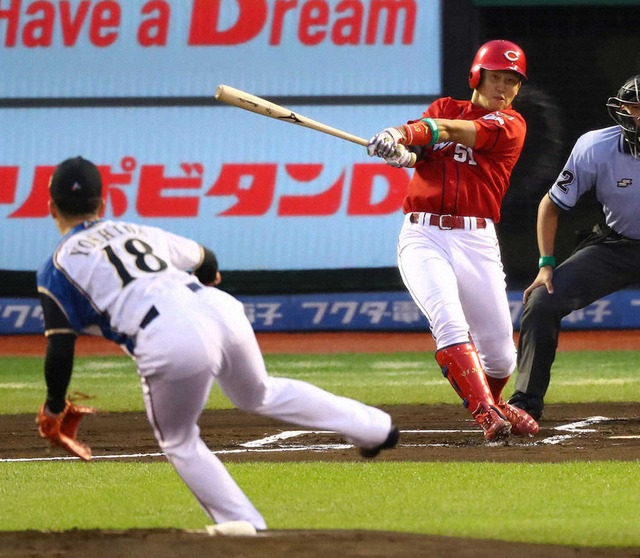 カープ小園海斗吉田輝星から先頭打者ホームラン