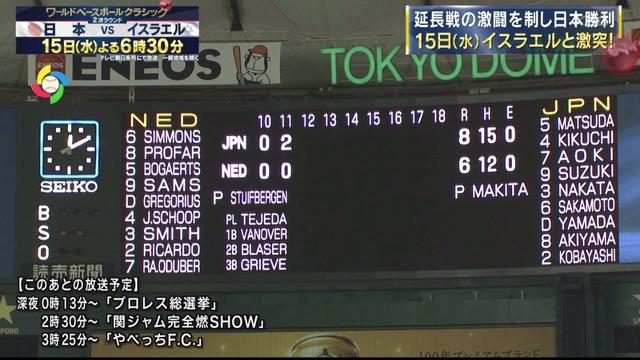 WBC日本オランダ試合延長