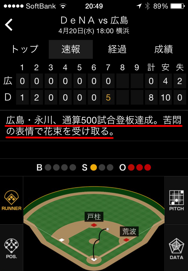 カープ永川満塁ホームラン花束