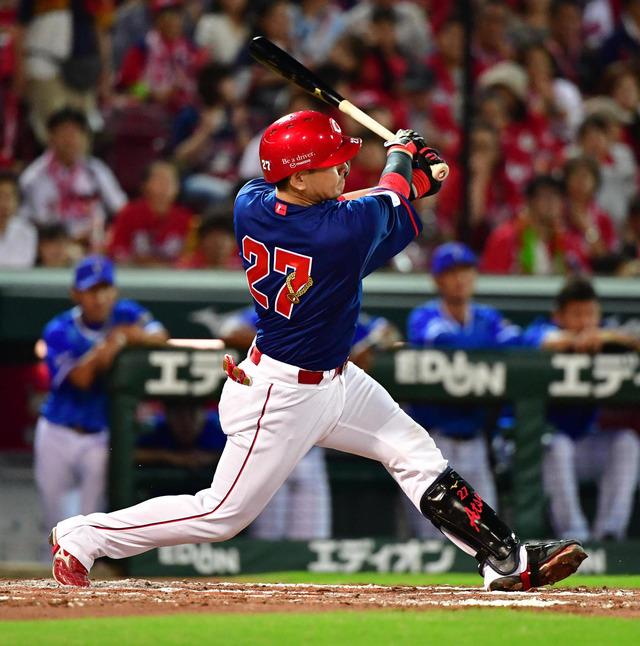 會澤翼カープ捕手最多の3度目2桁本塁打