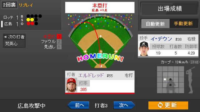 エルドレッド3号_1球速報