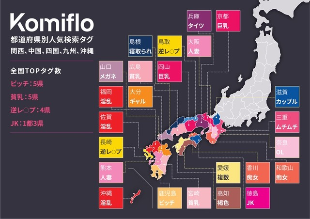 都道府県別人気検索ワード西日本