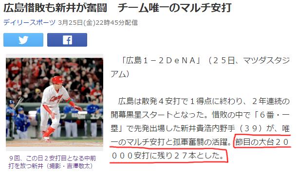 新井さん20000本安打
