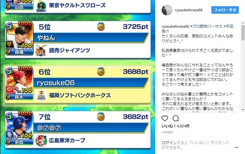 中日・平田良介さん、シーズン中なのにスマホゲームで全国6位