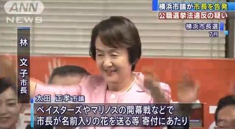 横浜市長、ベイスターズ等に花を送り公職選挙法違反で告発される