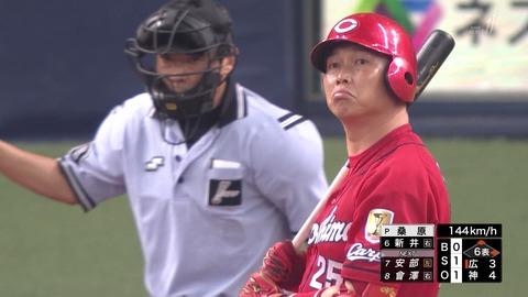 【阪神 5-4 カープ】福井、いい球を投げるも何でもないところから四球を出す悪い癖が…最後はサヨナラ犠飛