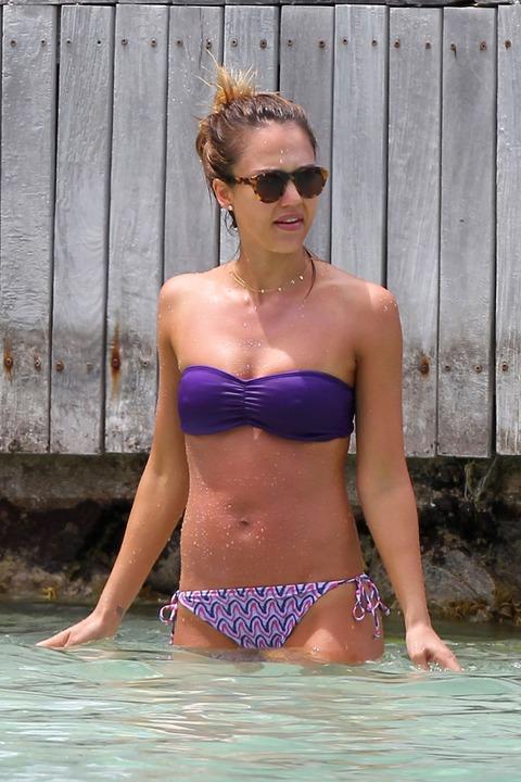 Jessica Alba  Purple Bikini  St Barts 043