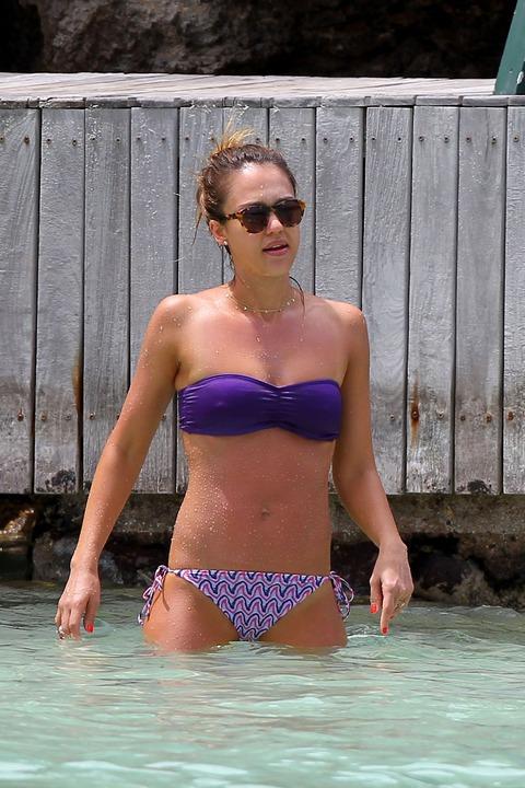 Jessica Alba  Purple Bikini  St Barts 038