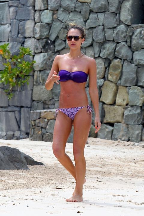 Jessica Alba  Purple Bikini  St Barts 023