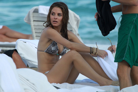 Maria Menounos - wearing a bikini in Miami Beach
