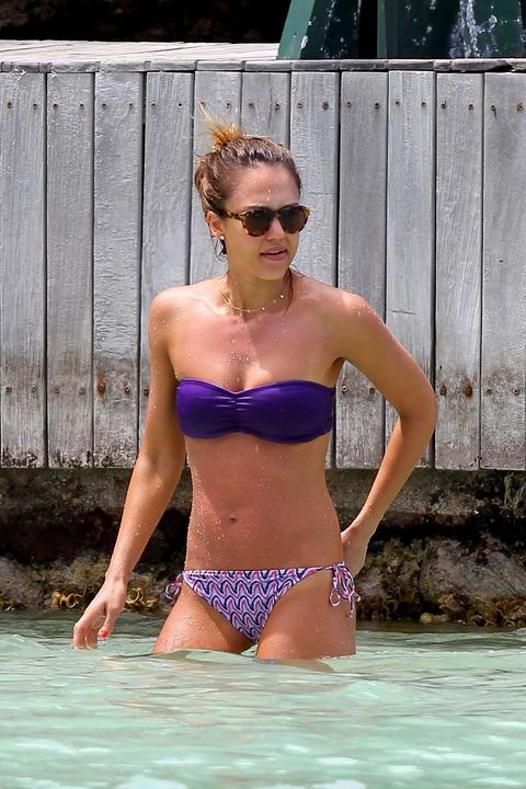 Jessica Alba  Purple Bikini  St Barts 041