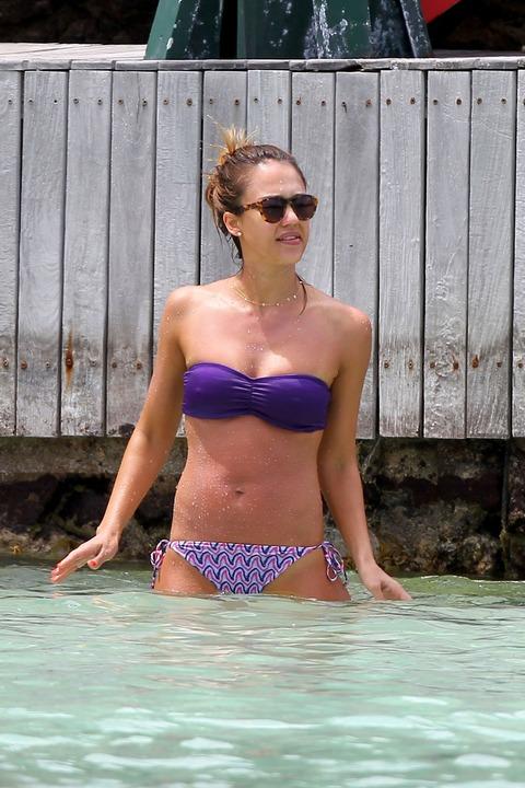 Jessica Alba  Purple Bikini  St Barts 042