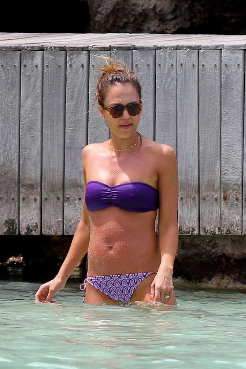 Jessica Alba  Purple Bikini  St Barts 036