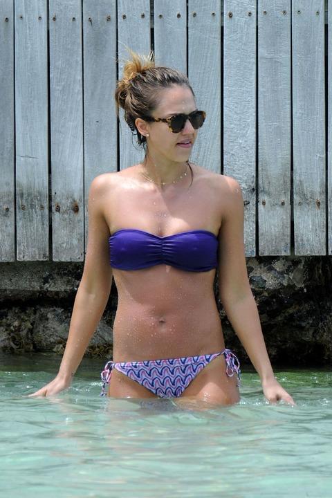 Jessica Alba  Purple Bikini  St Barts 015