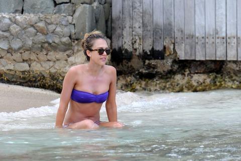 Jessica Alba  Purple Bikini  St Barts 020