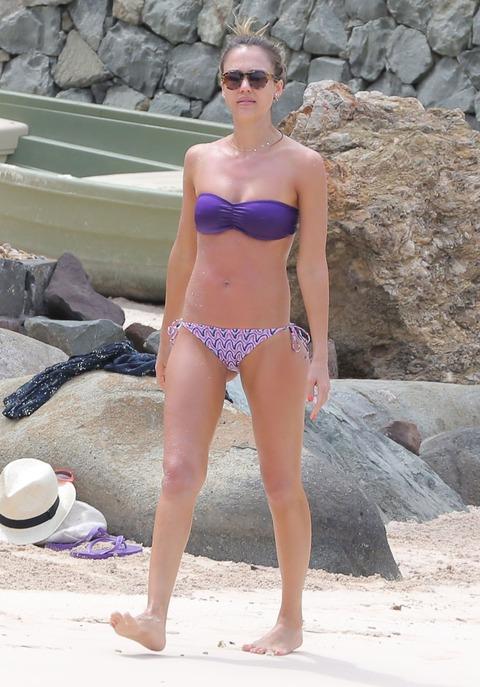Jessica Alba  Purple Bikini  St Barts 001