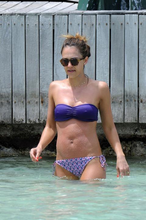 Jessica Alba  Purple Bikini  St Barts 013