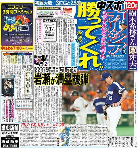 中日スポーツ「何が何でもきょう勝ってくれ!!」
