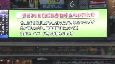 あしたの中日阪神戦中止