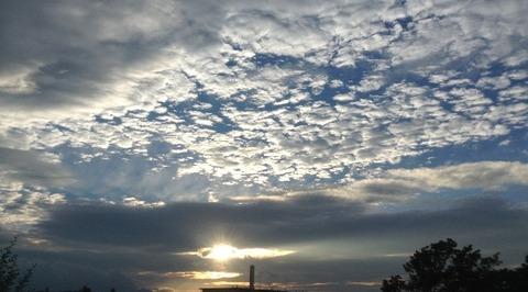 多摩の夕陽 初代iPad miniで撮影