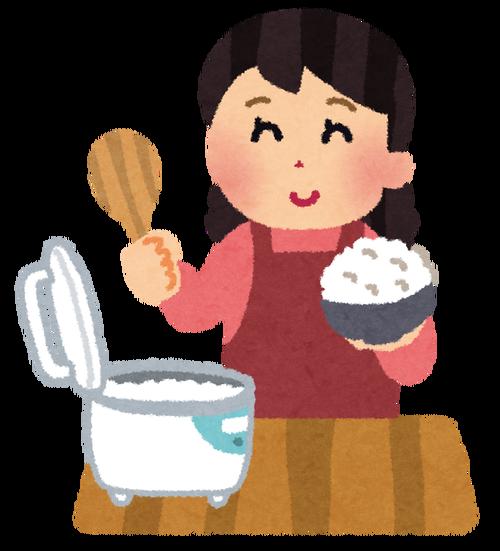 米の水分ミスるので、「手のひらを入れて、三分の二まで水来ればいいんだよ」って教えた